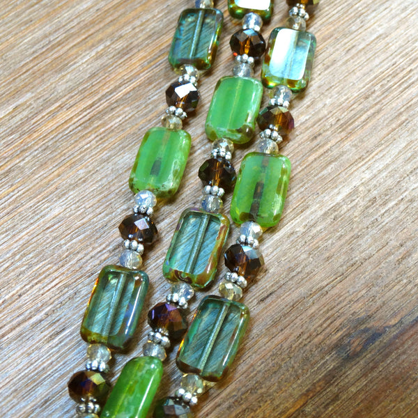 3 Strand Green Czech Glass Bracelet