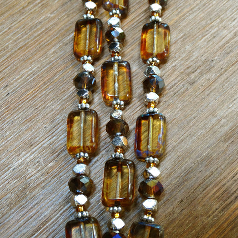 3 Strand Pressed Czech Glass Topaz Bracelet