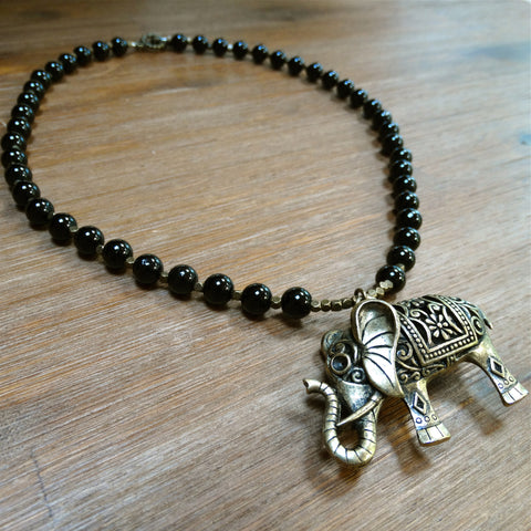 Black Onyx Necklace with Brass Elephant Pendant