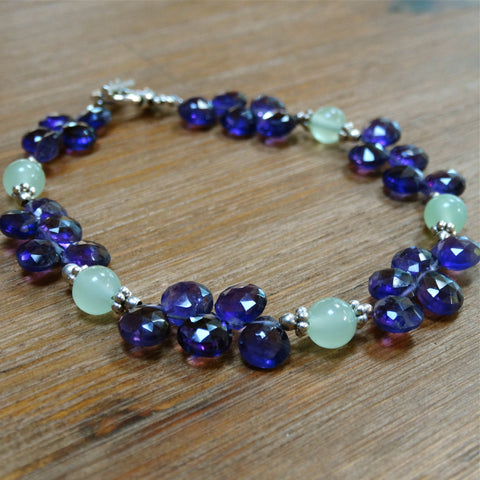 Amethyst Teardrop Bracelet with Chrysoprase