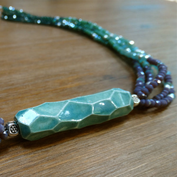 6 Strand Crystal Ombre Necklace with Handmade Ceramic Focal