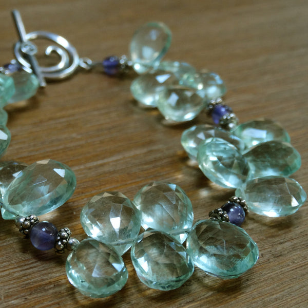 Green Amethyst Teardrop Bracelet with Amethyst Spacers