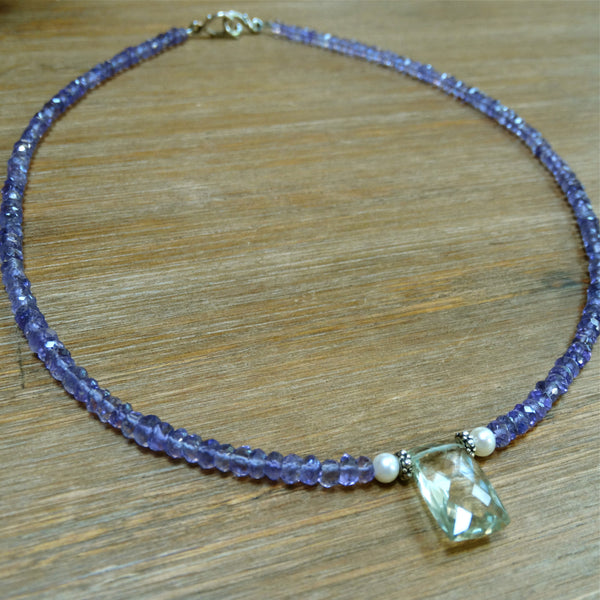 Delicate Amethyst Necklace with Green Amethyst Pendant