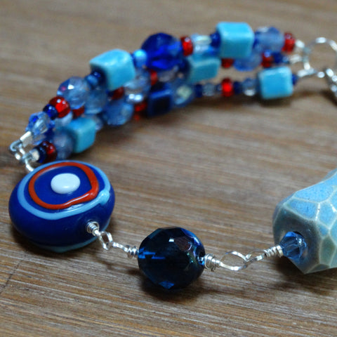 Blue with Red Accents Party Bracelet