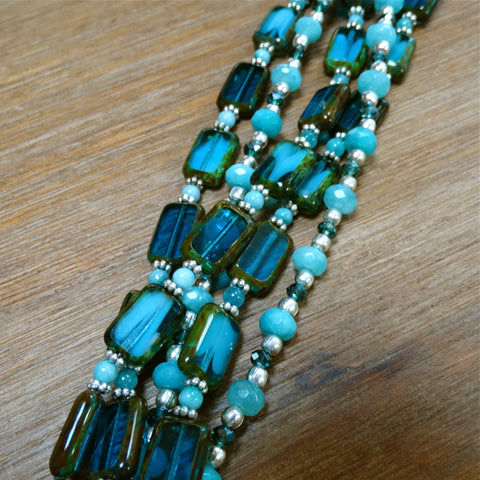 5 Strand Czech Glass and Chrysoprase Bracelet