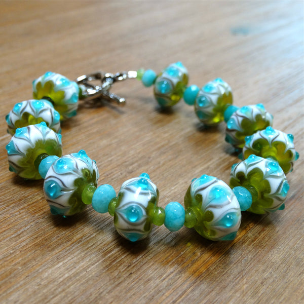Handmade Lampwork Blue and Green Bracelet