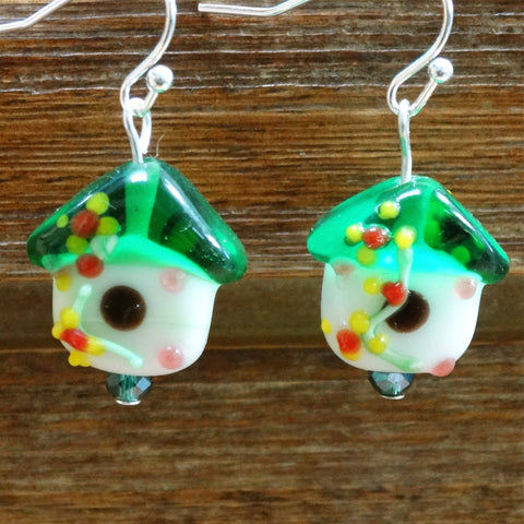 Green Birdhouse Lampwork Glass Earrings