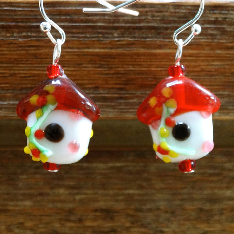 Red Glass Bird House Earrings