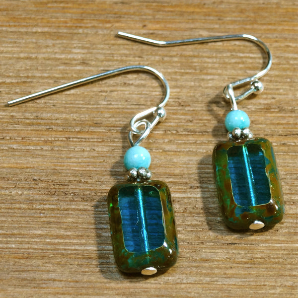 Aqua Czech Window Glass Earrings