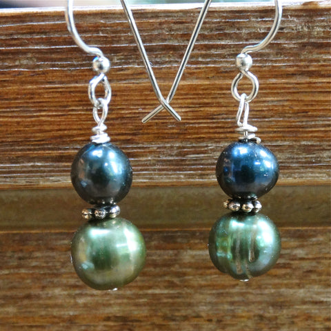 Blue and Green Freshwater Pearl Earrings