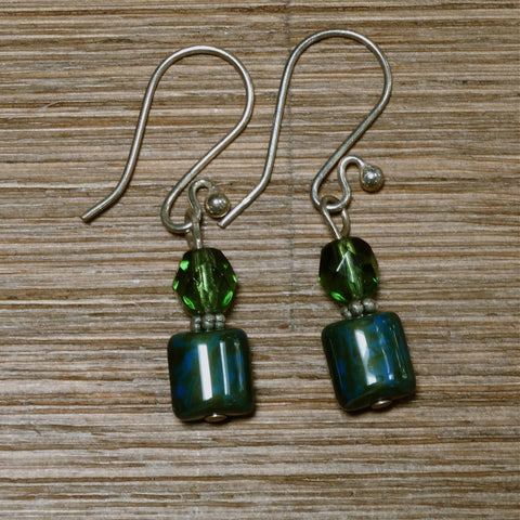 Blue and Green Czech Glass Earrings