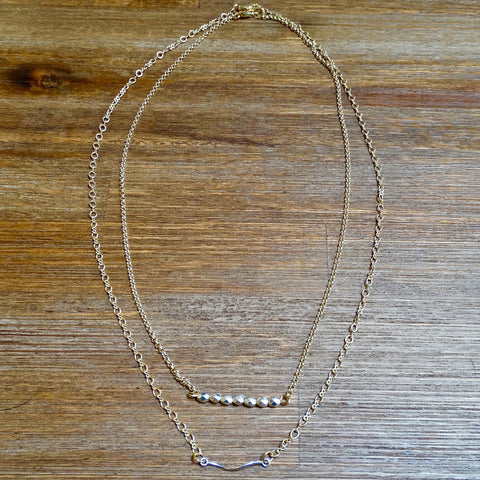 Simple Silver and Gold Beaded Layering Necklace