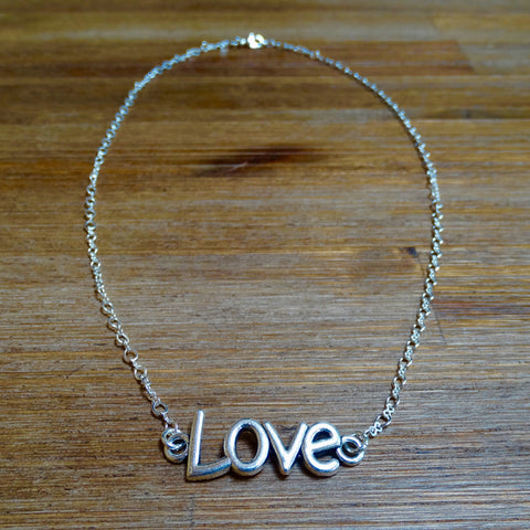 Simple Silver Love Necklace