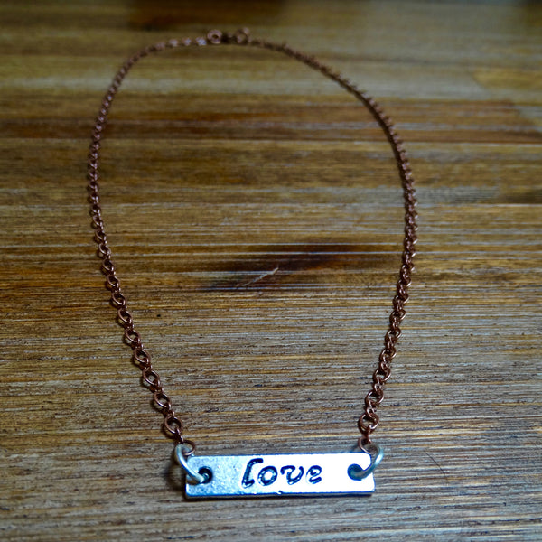 Delicate Copper and Silver Love Layering Necklace