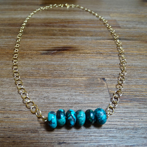 Turquoise and Gold Chain Layering Necklace