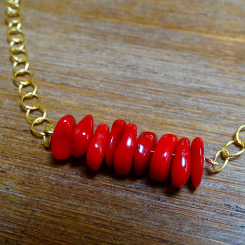 Gold and Coral Layering Necklace