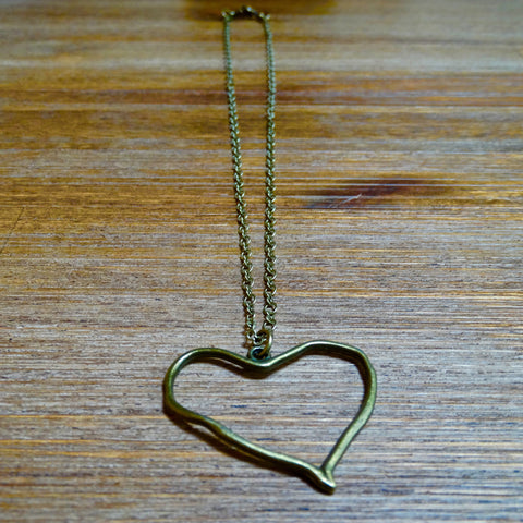 Funky Brass Heart Layering Necklace