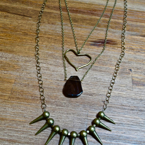 Brass Spike Layering Necklace