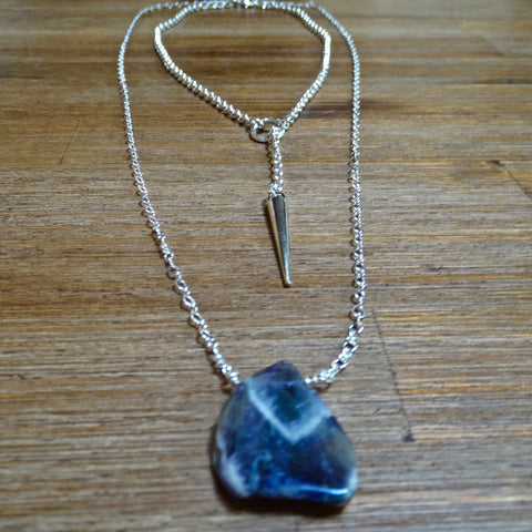 Chevron Amethyst Freeform Pendant Layering Necklace