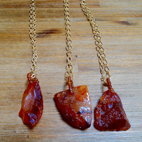 Unpolished Red Agate Pendant Layering Necklace