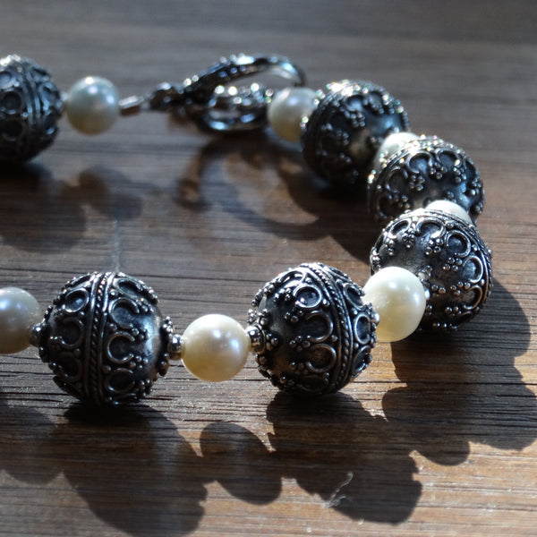 Sterling Silver Bali Bead and Freshwater Pearl Bracelet