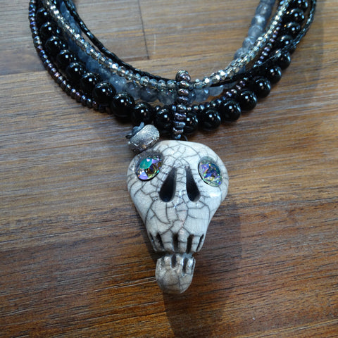 5 Strand Black and Grey Skull Necklace, Day of the Dead, Dia de Muertos