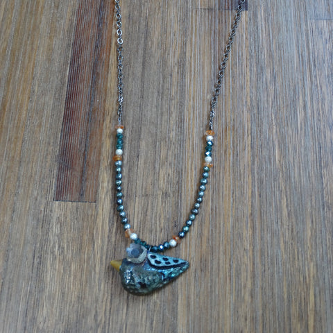 Raku Bird Pendant with Freshwater Pearls, Crystal, Carnelian and Gunmetal Chain