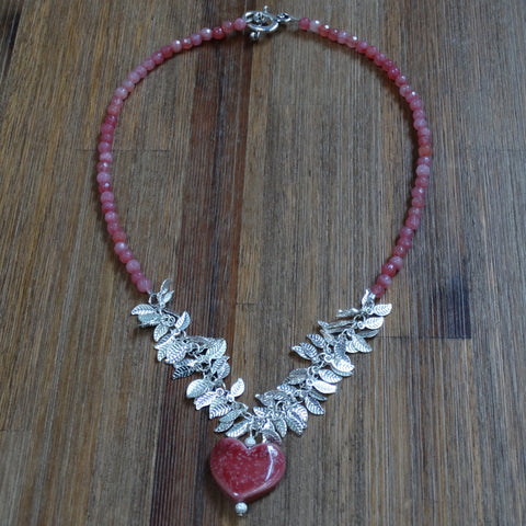 Pink Speckled Ceramic Heart with Silver Plated Leaf Chain and Cherry Quartz