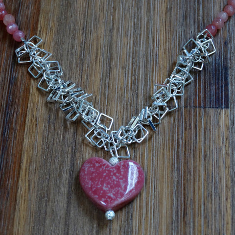 Pink Speckled Ceramic Heart Necklace with Cherry Quartz and Silver Plated Square Chain Active