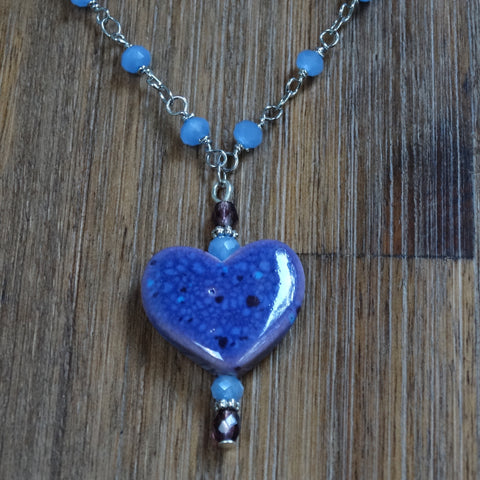 Purple and Blue Ceramic Heart Necklace