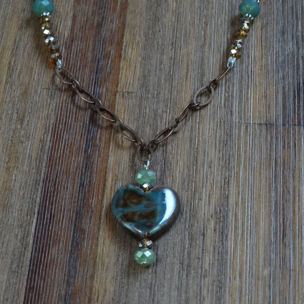 Green and Copper Heart Necklace with Copper Chain and Crystal Activ