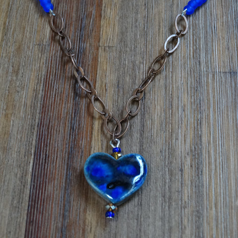 Blue Speckled Ceramic Heart Necklace with Copper Chain