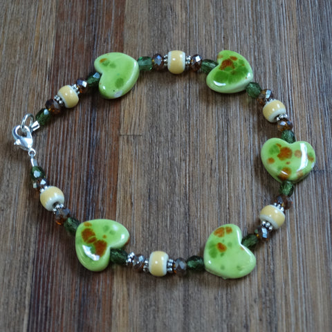 Green Ceramic Heart Bracelet