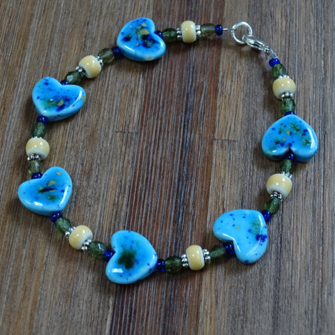 Aqua Ceramic Heart Bracelet with Green and Gold Accents