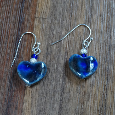 Royal Blue Speckled Ceramic Heart Earrings