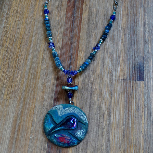 Raku Hummingbird Necklace