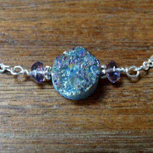 Delicate Druzy with Amethyst and Silver Chain