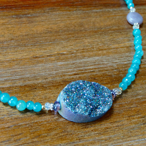 Multi-Colored Druzy Focal with Aqua Chalcedony and Lavender Jade