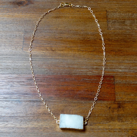 Rectangle Natural Crystal Quartz Druzy on Gold Chain