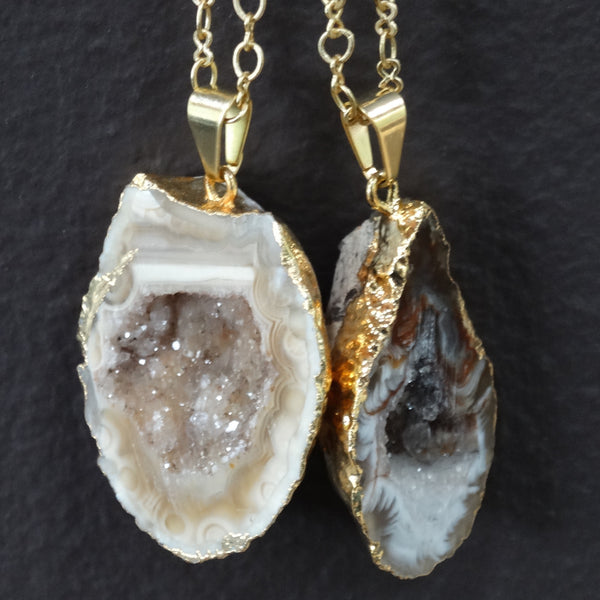 Gold Wrapped Druzy Geode Pendant on Satin Hamilton Gold Plated Chain