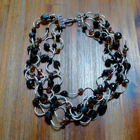 6 Strand Hill Tribe Silver, Smoky Quartz, Black Onyx and Crystal Necklace