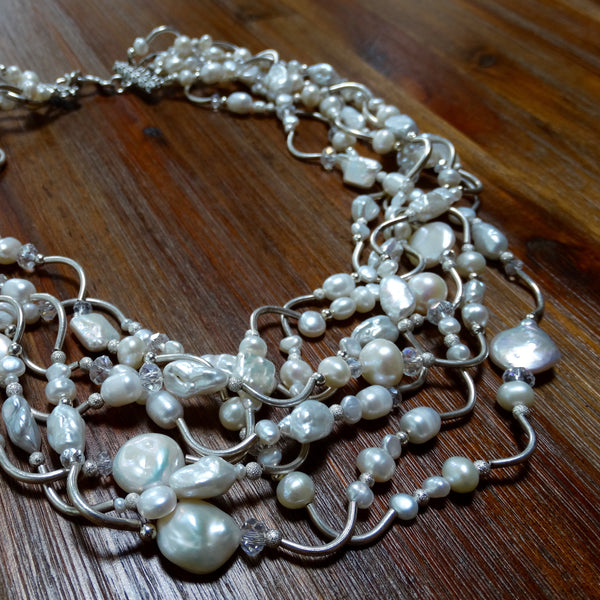 6 Strand Hill Tribe Silver and Pearl Necklace