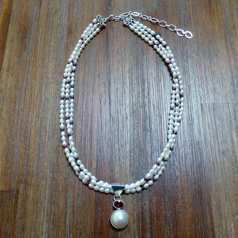 3 Strand Freshwater Pearl and Garnet Necklace