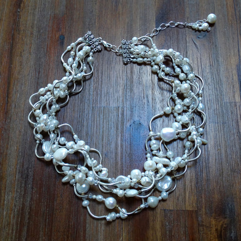 7 Strand Hill Tribe Silver and Freshwater Pearl Necklace with Silver and Gold Accents