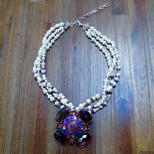 Vintage Purple Pendant with Freshwater Pearls