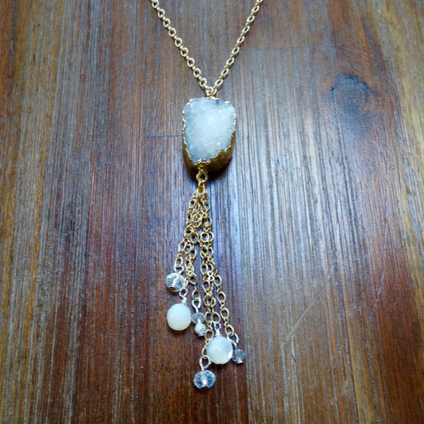 Gold Wrapped Crystal Druzy with Chain Tassel