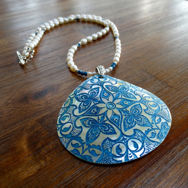 Blue Etched Shell Pendant on Freshwater Pearls