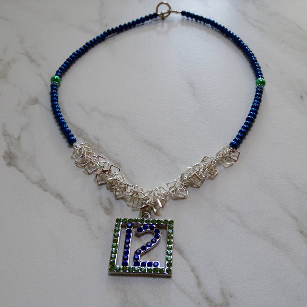 #12 Rhinestone Green and Blue Lady 12 Necklace