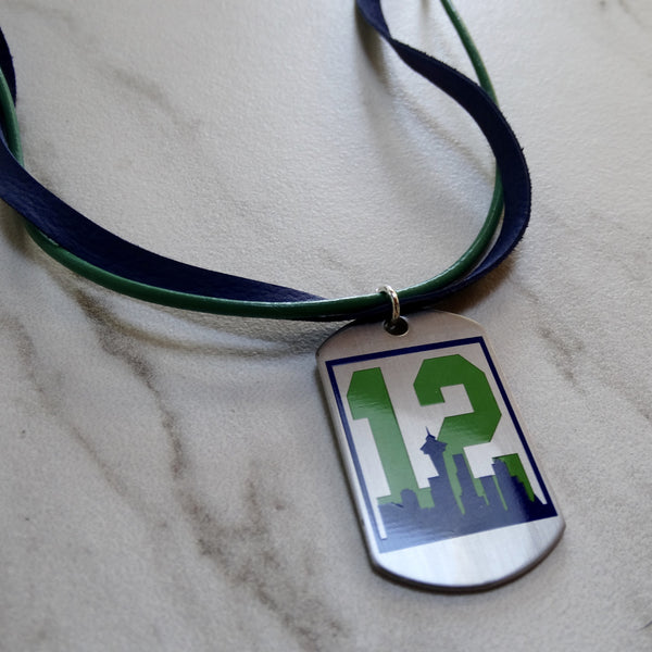 #12 Dog Tag Green and Blue Leather Necklace
