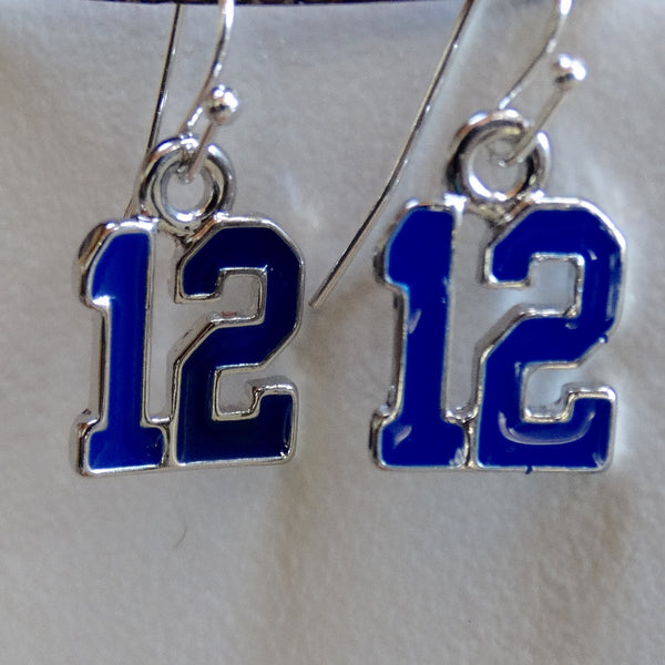 Blue Enamel #12 Seahawks 12th Man Earrings